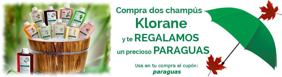 Oferta Champú Klorane con regalo de paraguas.