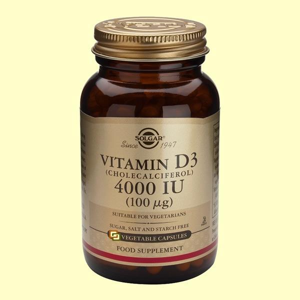 Bote de Solgar Vitamina D3 (Colecalciferol), 60 Cápsulas