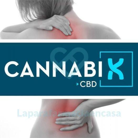 Logo de Aquilea Cannabix CBD sobre espalda de mujer con puntos doloridos