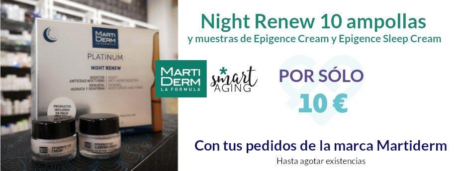 Con la compra de productos Martiderm llévate por 10 € las Ampollas Night Renew con muestras de Epigence 145 de regalo