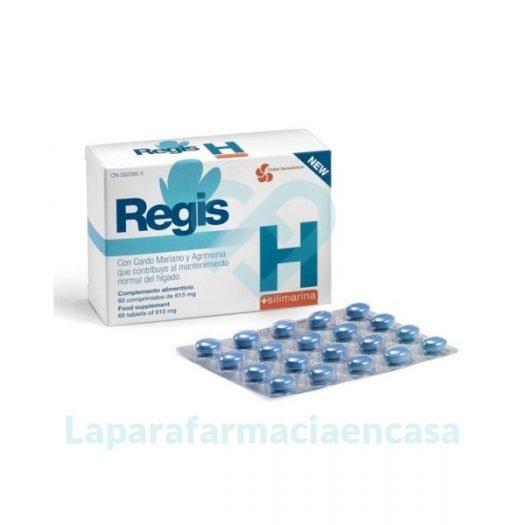 Caja y blister de Regis H Silimarina, 60 Comprimidos