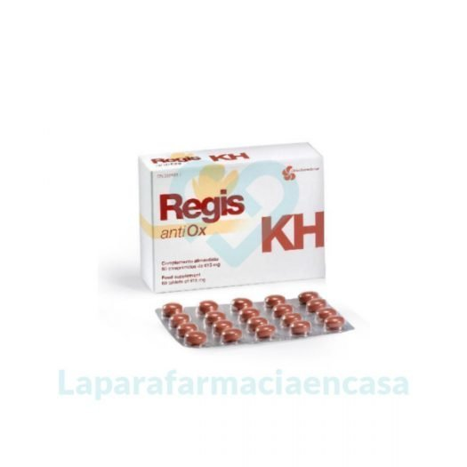 Caja y blister de comprimidos Regis KH antiOx