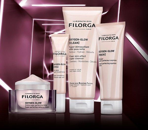Bodegón de productos de la Gama Filorga Oxygen Glow