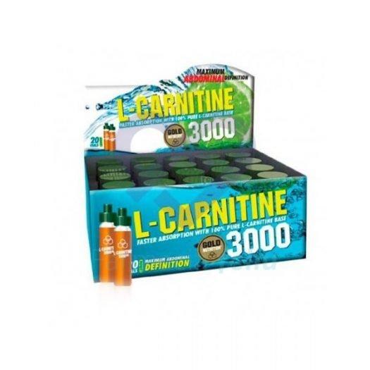 Caja de Gold Nutrition L-Carnitina 3000 mg. 20 viales Sabor Limón