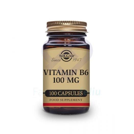 Bote de Solgar Vitamina B6 100mg, 100 Cáps. Vegetales