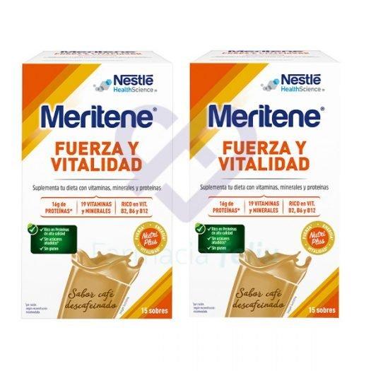 Dos cajas de Meritene Batido Café Descafeinado, 15 sobres