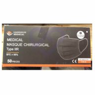 Mascarillas Quirúrgicas Tipo IIR Color Negro, Caja 50 unidades