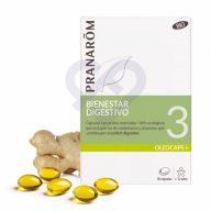 Caja de comprimidos Pranarom Olecaps 3 - Bienestar Digestivo Bio, 30 Cápsulas.